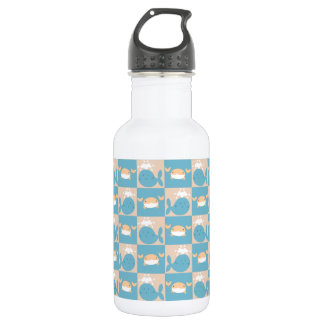 Whale Crab Checkered Pattern 532 Ml Water Bottle