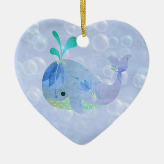Whale Fish Baby Boy Birth Announcement Heart Ceramic Heart Ornament