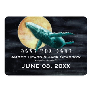 """Whale Flying to The Moon Wedding Save the Date 5"""" X 7"""" Invitation Card"""