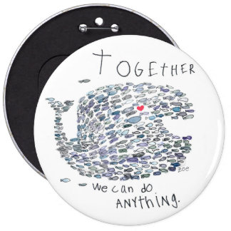 whale for a cause! 6 inch round button