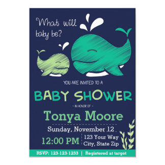 Whale Gender Reveal Whale Baby Shower Invitation