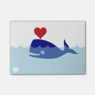 Whale Heart Post-it Notes