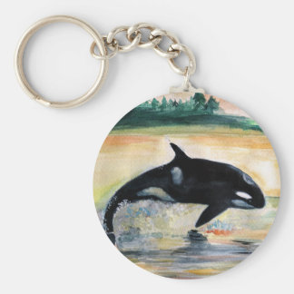 Whale in  Jump Wild  Orca Basic Button Key Ring