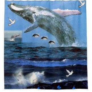 Whale ocean shower curtain