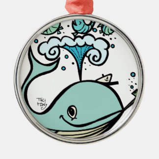 Whale of a Captain! by Tiki tOny Silver-Colored Round Ornament