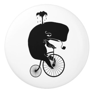 Whale on a Bike Ceramic Knob