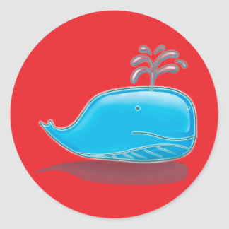 Whale on Red Classic Round Sticker
