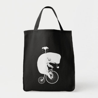 Whale on Vintage Bike Tote Bag