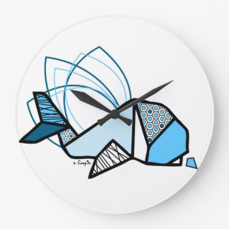 Whale origami large clock