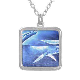 Whale Pod Blue Ocean Silver Plated Necklace