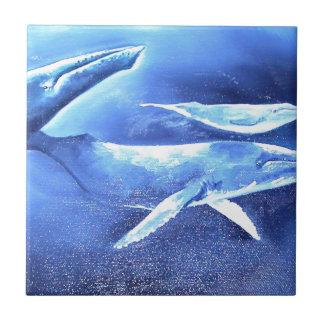 Whale Pod Blue Ocean Tile