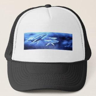 Whale Pod Blue Ocean Trucker Hat