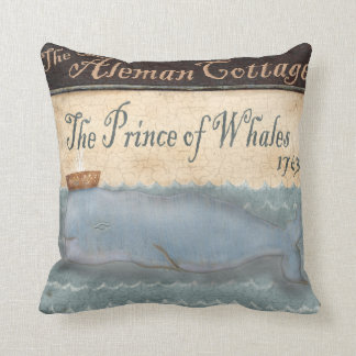 Whale royalty royals pub sign art throw pillow