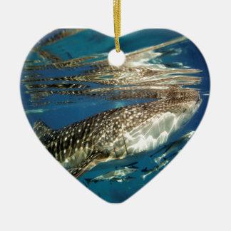 Whale shark and remora fish ceramic ornament