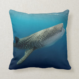 Whale Shark Swimming Throw Pillow