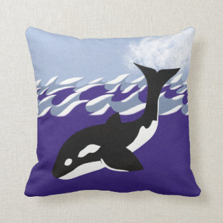 Whale Swimming in the Ocean Whimsical Cartoon Art Throw Pillow