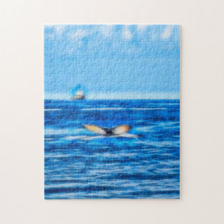 Whale Tail and Boat on the Horizon with Clouds Puzzles