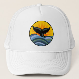 Whale Tail and Ocean Waves Trucker Hat