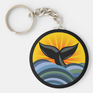 Whale Tail and Waves Keychain