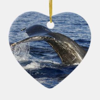 Whale Tail Ceramic Ornament