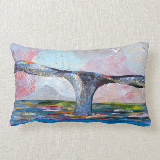 Whale Tail collage art Lumbar Pillow