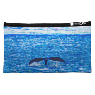 Whale Tail Fractal Blue and Pink Cosmetic Bag
