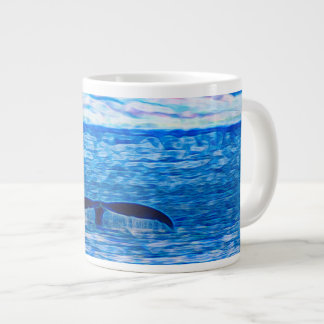 Whale Tail Fractal Blue and Pink Large Coffee Mug