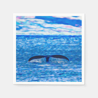 Whale Tail Fractal Blue and Pink Paper Napkin