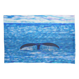 Whale Tail Fractal Blue and Pink Pillowcase