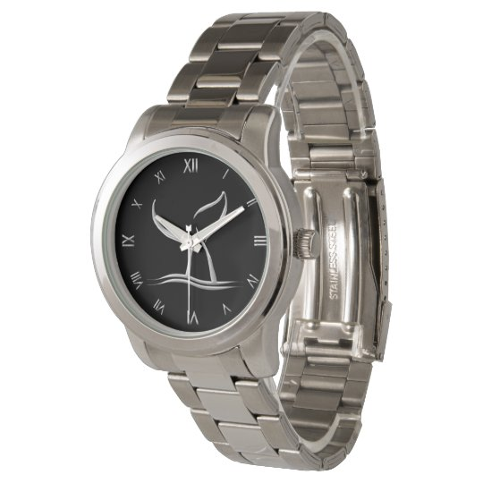 Whale Tail Silver with Roman Numerals Wristwatches