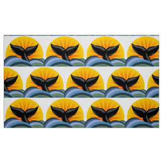 Whale Tail Sun and Waves Pattern Fabric