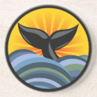 Whale Tail Waves and Sunburst Drink Coaster