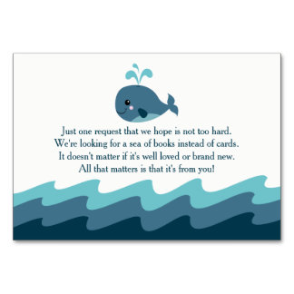 Whale themed Baby Shower Book Request Card