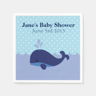 Whale Themed Boy Baby Shower Napkins Paper Napkin