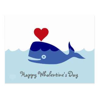 Whale Valentine's Day Postcard