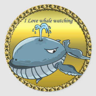 whale watching for giant floating blue whales classic round sticker
