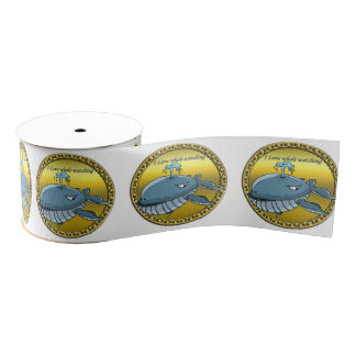 whale watching for giant floating blue whales grosgrain ribbon