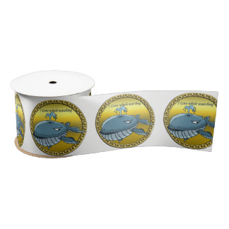 whale watching for giant floating blue whales satin ribbon