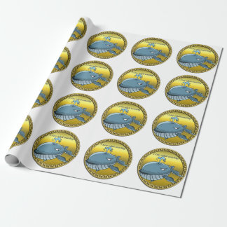 whale watching for giant floating blue whales wrapping paper