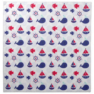 Whale Watching on Blue Cloth Napkins
