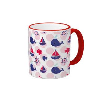 Whale Watching on Red Coffee Mugs