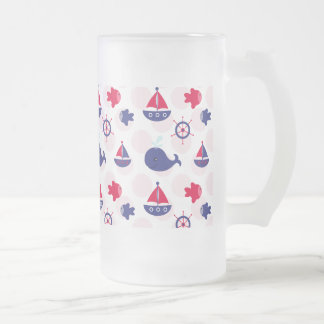 Whale Watching on Red Glass Beer Mug