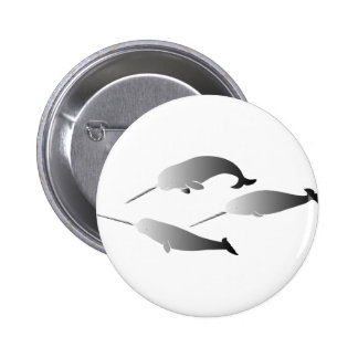 whale whales narwal narwhale unicorn scuba diving 2 inch round button