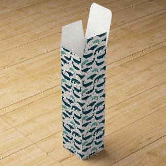 Whale/Whales Ocean Nautical Green / Andrea Lauren Wine Bottle Boxes