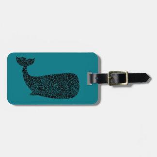 Whale with giraffe print luggage tag