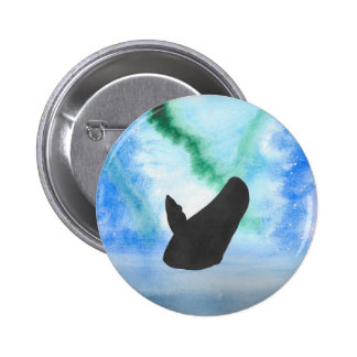 Whale With Northern Lights 2 Inch Round Button