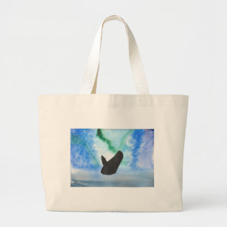 Whale With Northern Lights Large Tote Bag