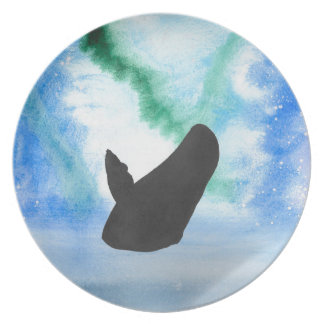 Whale With Northern Lights Party Plates