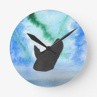 Whale With Northern Lights Round Clock