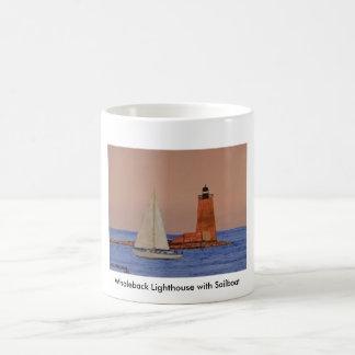 Whaleback Lighthouse with Sailboat Coffee Mug